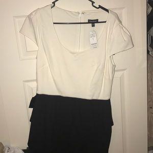 NWT BEBE WHITE & BLACK PEPLUM MID LENGTH DRESS
